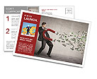 Businessman attracts money with a large magnet Postcard Template