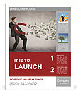 Businessman attracts money with a large magnet Poster Template