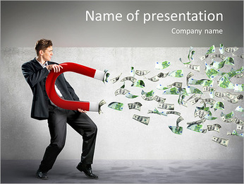 Businessman attracts money with a large magnet PowerPoint Template