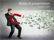 Businessman attracts money with a large magnet PowerPoint Templates