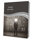 Bulb headed man and business plan concept on wall Presentation Folder