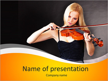 Beautiful young woman playing violin over black background PowerPoint Template