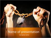 Old rusty chain with old rusty padlock PowerPoint Templates