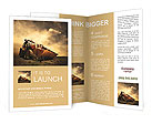 Yellow tractor on golden sunrise sky Brochure Templates