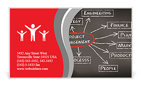 Conceptual hand drawn project management flow chart on black chalkboark. Business concept words. Business Card Template