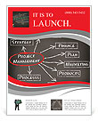 Conceptual hand drawn project management flow chart on black chalkboark. Business concept words. Flyer Templates
