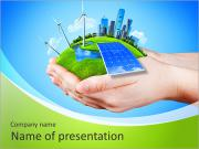 Hands holding clear green meadow with sun battery block, wind mill turbines and city skyscrapers. Co PowerPoint Templates