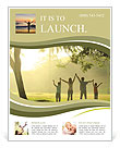 An asian family jumping in joy in the park during a beautiful sunrise, backlight Flyer Templates