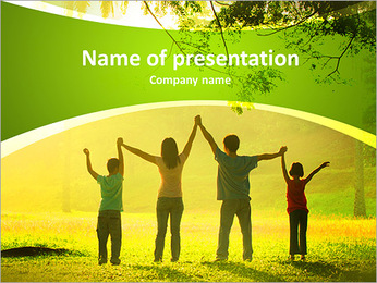 An asian family jumping in joy in the park during a beautiful sunrise, backlight PowerPoint Template