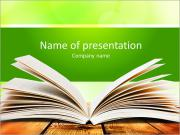 Open book on wood planks over abstract light background PowerPoint Template