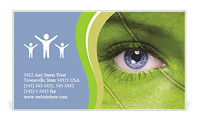 Face with leaf texture Business Card Templates