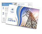 High voltage post.High-voltage tower sky background. Postcard Template