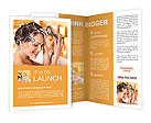 Woman washes her head at home bathroom. Brochure Templates