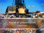 Truck moving trash in a landfill PowerPoint Templates