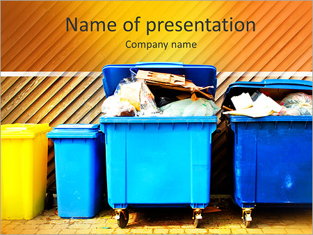 Garbage powerpoint template smiletemplates overfilled trash of large wheelie bins for rubbish recycling and garden waste powerpoint templates toneelgroepblik