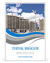 High-rise building under construction. The site with cranes against blue sky Ad Template