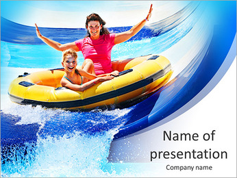 Child with mother on water slide at aquapark. Summer holiday. PowerPoint Template