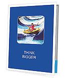 Child with mother on water slide at aquapark. Summer holiday. Presentation Folder