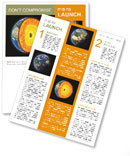 Earth cut-away with visible iron core and all the geological layers in scale Newsletter Template