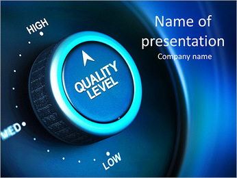 Quality level button with low, medium and high positions, button is positioned in the highest positi PowerPoint Template
