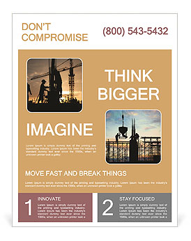 silhouette of construction worker on construction site flyer