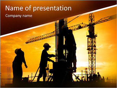 Construction powerpoint templates backgrounds google slides silhouette of construction worker on construction site powerpoint template toneelgroepblik Images