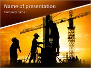 Silhouette of construction worker on construction site PowerPoint Template