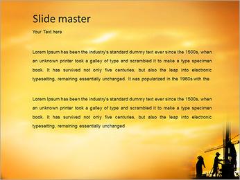 Silhouette de travailleur de la construction sur le chantier de construction Modèles des présentations  PowerPoint