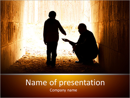 Unemployment powerpoint template smiletemplates poor man and child silhouette powerpoint template toneelgroepblik Choice Image
