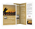 A fisherman fight against a bass at sunset Brochure Templates