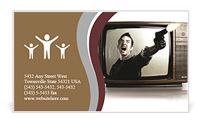 Angry tv man shooting a gun, represents violence in tv programs and movies Business Card Template