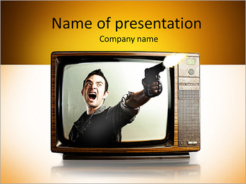 Angry tv man shooting a gun, represents violence in tv programs and movies PowerPoint Template