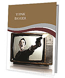 Angry tv man shooting a gun, represents violence in tv programs and movies Presentation Folder