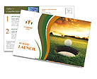 Golf ball about to fall into the cup at sunset Postcard Templates