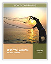 Throwing fishing net during sunrise, Thailand Word Templates
