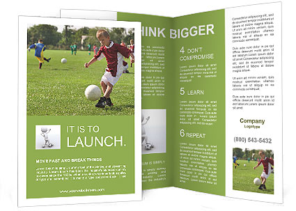 Boy Kicking Football On The Sports Field Brochure Template