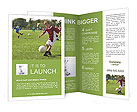 Boy kicking football on the sports field Brochure Templates