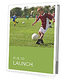Boy kicking football on the sports field Presentation Folder