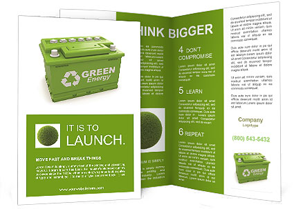 Car Battery With Green Recycle Sign 3d Brochure Template Design