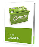 Car battery with green recycle sign. 3d Presentation Folder