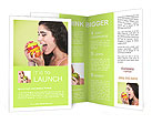 Young smiling woman with fruits Brochure Templates