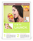 Young smiling woman with fruits Flyer Template
