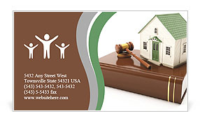 3????'?¤ illustration: Protection of the rights of a private property. The house costs on books with Business Card Template