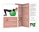 Woman doing exercises with ball on white Brochure Templates