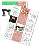 Woman doing exercises with ball on white Newsletter Templates