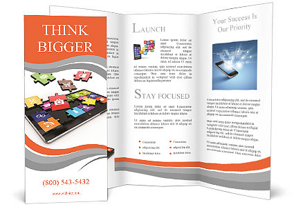 Tablet Pc Software. Screen From Puzzle With Icons. 3D Brochure