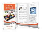 Tablet pc software. Screen from puzzle with icons. 3d Brochure Templates