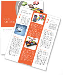 Tablet pc software. Screen from puzzle with icons. 3d Newsletter Template