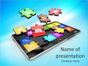 Tablet PC программы. Экран от головоломки с иконами. 3d Шаблоны презентаций PowerPoint