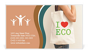 "Big flax eco bag ""I love eco"" Business Card Template"